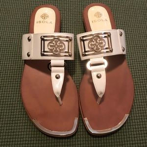 Isola White Thong Sandals